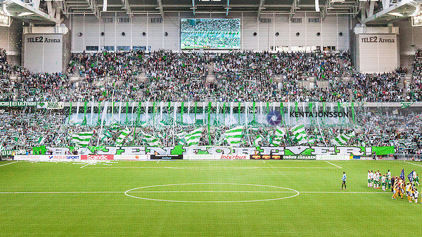 Stockholm 2014-08-24 Fotboll Superettan Hammarby IF - Ljungskile SK :  <br /> Vy &ouml;ver Tele2 Arena n&auml;r Hammarbys supportrar har ett tifo inf&ouml;r matchen mellan Hammarby och Ljungskile<br /> (Foto: Kenta J&ouml;nsson) Nyckelord:  Superettan Tele2 Arena Hammarby HIF Bajen Ljungskile LSK supporter fans publik supporters inomhus interi&ouml;r interior
