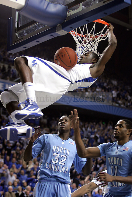 Freshman John Wall dunks during the first half of UK's game against UNC on Saturday, Dec. 05, 2009 at Rupp Arena. UK defeated UNC 68-66.
