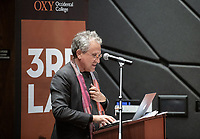 "Michael B. Lehrer, Founding Partner and President, Lehrer Architects LA<br /> Occidental College's thought-provoking Third L.A. series presents, ""L.A. House and Home: New Paths in Housing Policy and Residential Architecture"" on Monday, December 2, 2019 in Choi Auditorium and moderated by Christopher Hawthorne, Oxy professor of practice and Chief Design Officer, Design Office, the Mayor's Office of Economic Development.<br /> This 3rd L.A. event brought together policymakers and leading architects as they discussed and summarized L.A.'s homelessness, housing affordability and single-family zoning, which are squarely at the top of the policy agenda across California. Furthermore, Los Angeles is engaged in a growing national conversation around the relationship between good design and good housing and the legacies of redlining and exclusionary zoning.<br /> (Photo by Marc Campos, Occidental College Photographer)"
