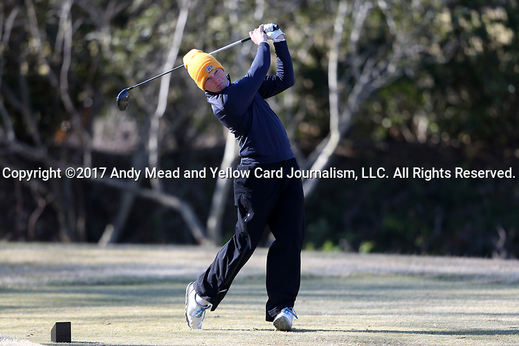 WILMINGTON, NC - MARCH 19: Kent State's Gisli Sveinbergsson (ISL) tees off on the Ocean Course fifth hole. The first round of the 2017 Seahawk Intercollegiate Men's Golf Tournament was held on March 19, 2017, at the Country Club of Landover Nicklaus Course in Wilmington, NC.