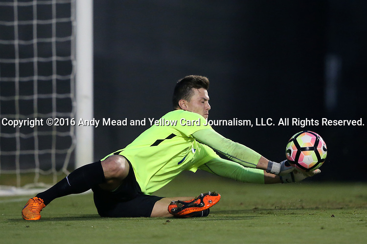 27 September 2016: Georgia State's Yannic Horn (GER) makes a save. The Duke University Blue Devils hosted the Georgia State University Panthers at Koskinen Stadium in Durham, North Carolina in a 2016 NCAA Division I Men's Soccer match. Georgia State won the game 2-1 in two overtimes.