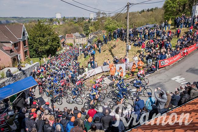 peloton on the infamous Mur de Huy<br /> <br /> 81st La Fl&egrave;che Wallonne (1.UWT)<br /> One Day Race: Binche &rsaquo; Huy (200.5km)