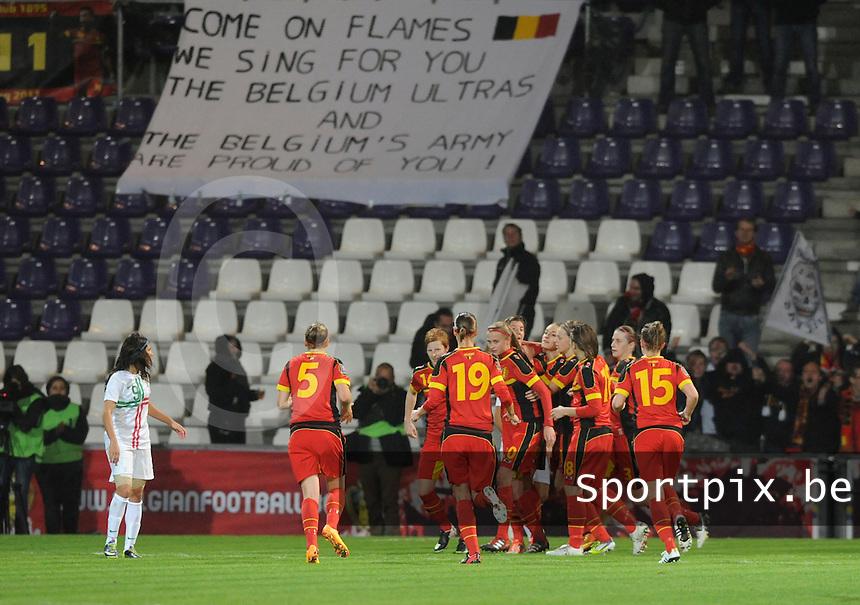 Belgian Red Flames - Portugal (31/10/2013) :<br /> feestende Belgische speelsters na de 1-1 van Aline Zeler<br /> foto Dirk Vuylsteke / nikonpro.be
