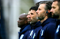9th November 2019; Deepdale Stadium, Preston, Lancashire, England; Championship Football, Preston North End versus Huddersfield Town; Hudderfield Town manager Danny Cowley and his backroom team observe a minutes silence before the game, ahead of tomorrow's Remembrance Sunday ceremonies - Strictly Editorial Use Only. No use with unauthorized audio, video, data, fixture lists, club/league logos or 'live' services. Online in-match use limited to 120 images, no video emulation. No use in betting, games or single club/league/player publications