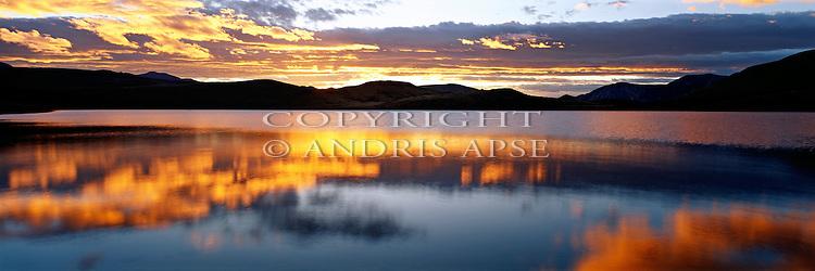 Sunrise at Lake Marymere. Canterbury. New Zealand.