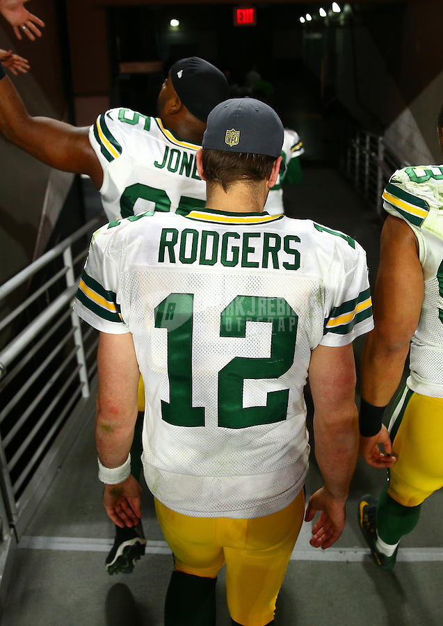 Dec 27, 2015; Glendale, AZ, USA; Green Bay Packers quarterback Aaron Rodgers (12) against the Arizona Cardinals at University of Phoenix Stadium. The Cardinals defeated the Packers 38-8. Mandatory Credit: Mark J. Rebilas-USA TODAY Sports