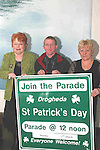 Phil Conyngham, Liam Reay and Isabelle San Roma at the Launch of the St.Patricks Day Parade in the D Hotel...Photo NEWSFILE/Jenny Matthews.(Photo credit should read Jenny Matthews/NEWSFILE)....This Picture has been sent you under the condtions enclosed by:.Newsfile Ltd..The Studio,.Millmount Abbey,.Drogheda,.Co Meath..Ireland..Tel: +353(0)41-9871240.Fax: +353(0)41-9871260.GSM: +353(0)86-2500958.email: pictures@newsfile.ie.www.newsfile.ie.FTP: 193.120.102.198.