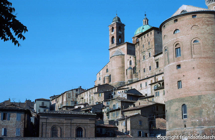 Urbino:  Ducal Palace, church, and town from below.  Photo '83.