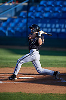Missoula Osprey Nick Grande (49) hits a home run during a Pioneer League game against the Great Falls Voyagers at Centene Stadium at Legion Park on August 19, 2019 in Great Falls, Montana. Missoula defeated Great Falls 4-1 in the first game of a doubleheader. Games were moved from Missoula after Ogren Park at Allegiance Field, the Osprey's home field, was ruled unplayable. (Zachary Lucy/Four Seam Images)