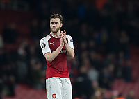 Calum Chambers of Arsenal applauds the fans during the UEFA Europa League round of 16 2nd leg match between Arsenal and AC Milan at the Emirates Stadium, London, England on 15 March 2018. Photo by Vince  Mignott / PRiME Media Images.