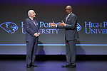 "High Point University President Dr. Nido Qubein (left) and Orlando ""Tubby"" Smith (right) address the crowd following the introduction of Smith as the new men's basketball head coach during a presentation at the Hayworth Fine Arts Center on the campus of High Point University on March 27, 2018 in High Point, North Carolina.  (Brian Westerholt/Sports On Film)"