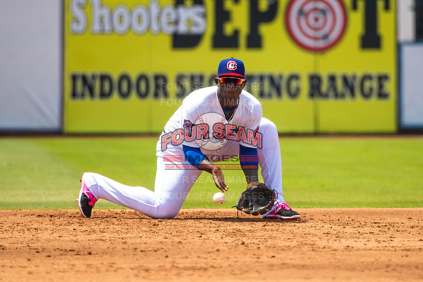 Miguel Sano (24) of the Chattanooga Lookouts fields during a game between the Jackson Generals and Chattanooga Lookouts at AT&T Field on May 10, 2015 in Chattanooga, Tennessee. (Brace Hemmelgarn/Four Seam Images)