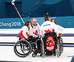 Pyeongchang, Korea, 17/3/2018--Marie Wright, Dennis Thiessen, Mark Ideson, Ina Forrest  competes in the bronze medal game of wheelchair curling during the 2018 Paralympic Games. Photo: Scott Grant/Canadian Paralympic Committee.