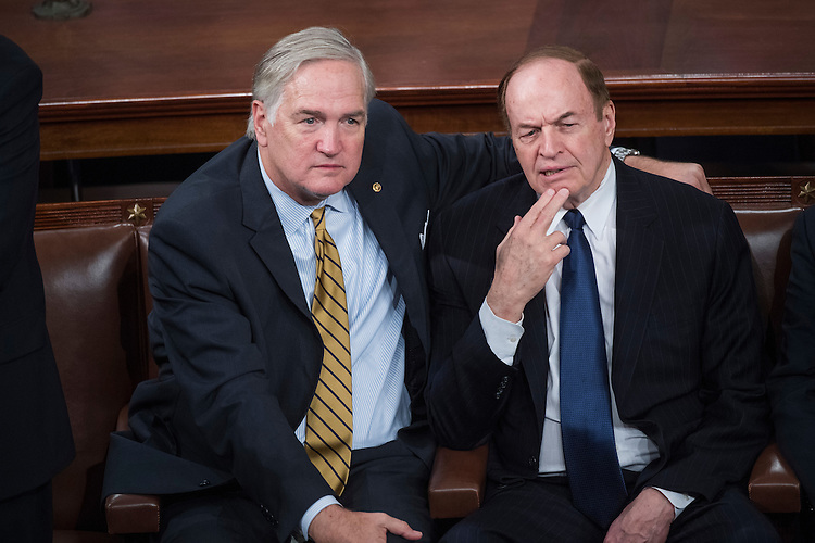 UNITED STATES - FEBRUARY 28: Sens. Richard Shelby, R-Ala., right, and Luther Strange, R-Ala., talk in the House Chamber before President Donald Trump addressed a joint session of Congress in the Capitol, February 28, 2017. (Photo By Tom Williams/CQ Roll Call)
