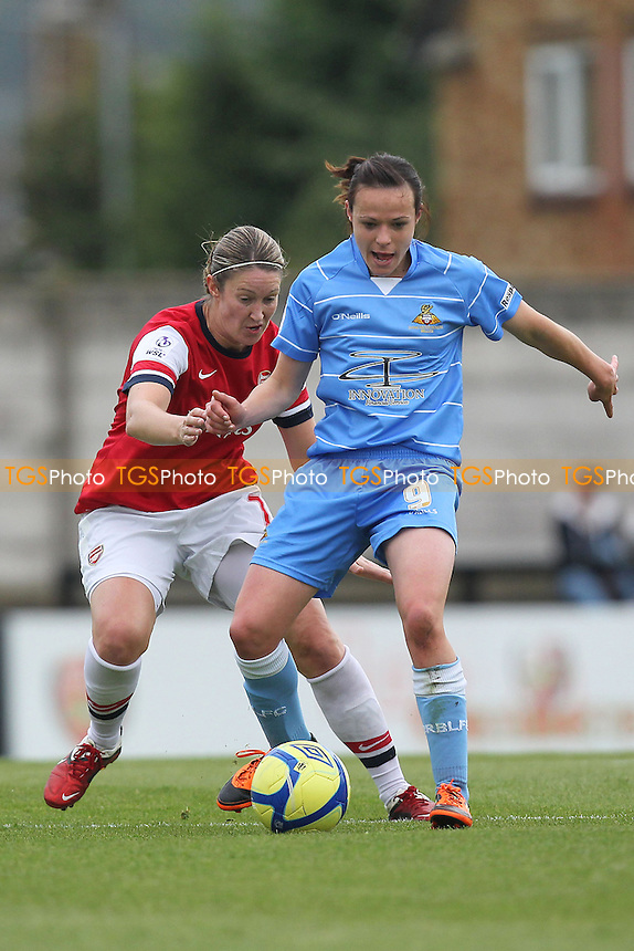 Ciara Grant of Arsenal keeps a close eye on Aine O'Gorman of Doncaster - Arsenal Ladies vs Doncaster Rovers Belles - FA Womens Super League Football at Boreham Wood FC - 30/09/12 - MANDATORY CREDIT: Gavin Ellis/TGSPHOTO - Self billing applies where appropriate - 0845 094 6026 - contact@tgsphoto.co.uk - NO UNPAID USE.