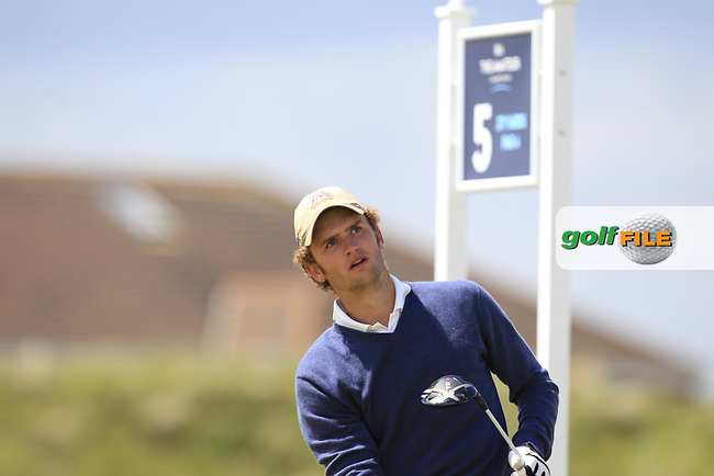 Gonzalo Pan De Soraluce (ESP) on the 5th tee during Round 1 of the The Amateur Championship 2019 at The Island Golf Club, Co. Dublin on Monday 17th June 2019.<br /> Picture:  Thos Caffrey / Golffile<br /> <br /> All photo usage must carry mandatory copyright credit (© Golffile | Thos Caffrey)