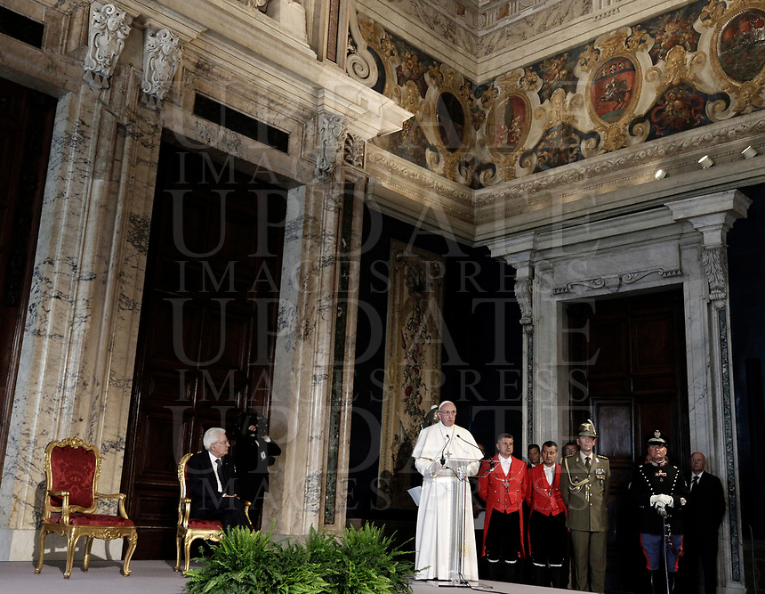 Italian President Sergio Mattarella (l) listens to Pope Francis as he delivers his speech at the end of their meeting at the Quirinale presidential palace, in Rome, on June 10, 2017.<br /> UPDATE IMAGES PRESS/Isabella Bonotto<br /> STRICTLY ONLY FOR EDITORIAL USE