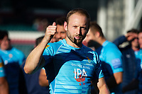 Chris Pennell of Worcester Warriors celebrates at the final whistle. Gallagher Premiership match, between Leicester Tigers and Worcester Warriors on September 21, 2018 at Welford Road in Leicester, England. Photo by: Patrick Khachfe / JMP