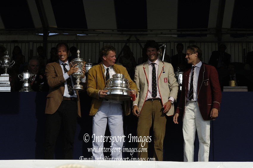Henley Royal Regatta. Henley-on-Thames; ENGLAND; 02.07.2006.Finals day. Stewards' Challenge Cup, winners, Hollandia Roeiclub, NED M4-, who rowed over, after Leander and Molesey BC withdraw.  Photo; Peter Spurrier/Intersport Images; email images@intersport-images.com Henley Royal Regatta, Rowing Courses, Henley Reach, Henley, ENGLAND [Mandatory credit; Peter Spurrier/Intersport Images] 2006 . HRR.