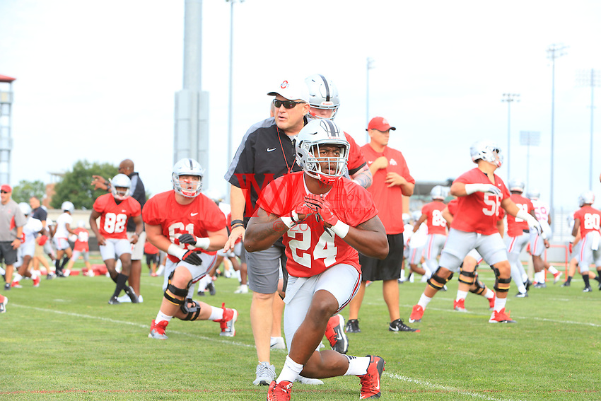 The Ohio State University football team first full practice of the 2016 season.