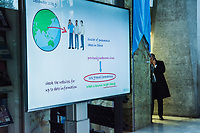 WHO video explaining what facts are known of the Coronavirus, playing on a screen outside the opening session of the Executive Board Meeting of the World Health Organisation, the UN's health body, at the organisation's headquarters in Geneva. The annual event is taking place in the shadow of the Corona virus outbreak, which the WHO has declared as global health emergency.