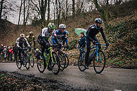 A very active Alejandro Valverde (ESP/Movistar) constantly showing himself on the front, like here on the Trieu with Edvald Boasson Hagen (NOR/Dimension Data), Yves Lampaert (BEL/Quick Step Floors) &amp; Zdenek Stybar (CZE/Quick-Step Floors)<br /> <br /> 73rd Dwars Door Vlaanderen 2018 (1.UWT)<br /> Roeselare - Waregem (BEL): 180km