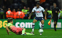 Preston North End's Josh Ginnelly is tackled by Manchester City's Adrian Bernabe<br /> <br /> Photographer Dave Howarth/CameraSport<br /> <br /> The Carabao Cup Third Round - Preston North End v Manchester City - Tuesday 24th September 2019 - Deepdale Stadium - Preston<br />  <br /> World Copyright © 2019 CameraSport. All rights reserved. 43 Linden Ave. Countesthorpe. Leicester. England. LE8 5PG - Tel: +44 (0) 116 277 4147 - admin@camerasport.com - www.camerasport.com
