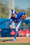 6 March 2019: Toronto Blue Jays pitcher Conor Fisk on the mound during a Spring Training game against the Philadelphia Phillies at Dunedin Stadium in Dunedin, Florida. The Blue Jays defeated the Phillies 9-7 in Grapefruit League play. Mandatory Credit: Ed Wolfstein Photo *** RAW (NEF) Image File Available ***