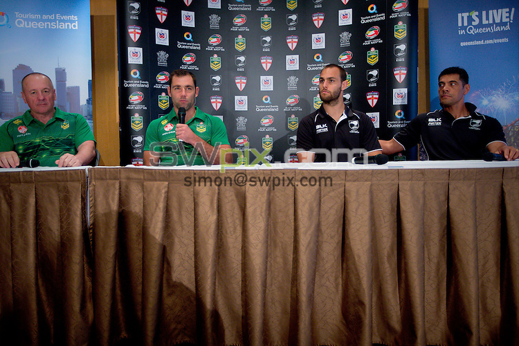 Picture by Patrick Hamilton/ www.photosport.co.nz/SWpix.com - L_R Australian coach Tim Sheens, Australian captain Cameron Smith (c), New Zealand captain Simon Mannering and New Zealand coach Stephen Kearney during a preview 4 Nations press conference, Brisbane Australia on October 24, 2014.