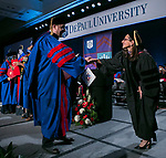 Jennifer Rosato Perea, right, dean of the College of Law, congratulates the graduates during the DePaul University College of Law commencement ceremony, Sunday, May 13, 2018, at the McCormick Place Grand Ballroom in Chicago, IL. Approximately 280 students received their Juris Doctors or Master of Laws degrees during the event. (DePaul University/Jamie Moncrief)