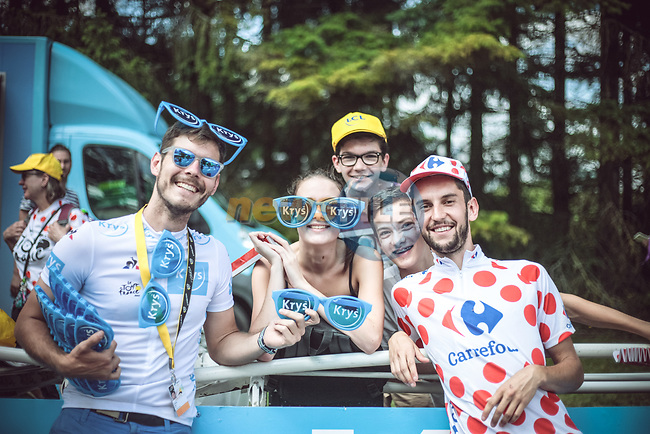 Fans wait for the riders during Stage 4 of the 104th edition of the Tour de France 2017, running 207.5km from Mondorf-les-Bains, Luxembourg to Vittel, France. 4th July 2017.<br /> Picture: ASO/Bruno Bade | Cyclefile<br /> <br /> <br /> All photos usage must carry mandatory copyright credit (&copy; Cyclefile | ASO/Bruno Bade)