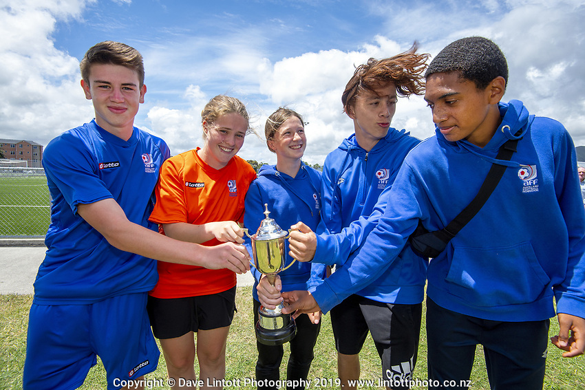 The Auckland captains. 2019 National Age Group Tournament football awards ceremony at Memorial Park in Petone, Wellington, New Zealand on Sunday, 15 December 2019. Photo: Dave Lintott / lintottphoto.co.nz