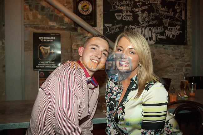 Lydia Jein and Joe Grant enjoying a night out in Wm Cairnes &amp; Son<br /> Picture: www.newsfile.ie