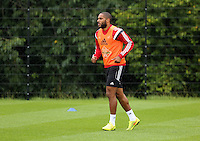 Pictured: Ashley Williams. Thursday 14 August 2014<br /> Re: Swansea City FC training at Fairwood, south Wales, ahead of their first game of the Premier League season against Manchester United this coming Saturday.