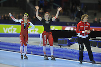 SCHAATSEN: HEERENVEEN: 26-12-2013, IJsstadion Thialf, KNSB Kwalificatie Toernooi (KKT), 1000m, Marrit Leenstra, Lotte van Beek, Renate Groenewold (trainer/coach Team Corendon), ©foto Martin de Jong