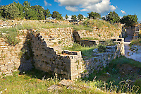 Portion of the walls of Troy (VII), identified as the site of the Trojan War (ca. 1200 BC). Troy archaeological site, A UNESCO World Heritage Site, Turkey