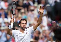 Marin Cilic (7) of Croatia celebrates his victory over Sam Querrrey (24) of United States in their Men's Singles Semi Final Match today - Cilic def Querrey 6-7, 6-4, 7-6, 7-5<br /> <br /> Photographer Ashley Western/CameraSport<br /> <br /> Wimbledon Lawn Tennis Championships - Day 11 - Friday 14th July 2017 -  All England Lawn Tennis and Croquet Club - Wimbledon - London - England<br /> <br /> World Copyright &not;&copy; 2017 CameraSport. All rights reserved. 43 Linden Ave. Countesthorpe. Leicester. England. LE8 5PG - Tel: +44 (0) 116 277 4147 - admin@camerasport.com - www.camerasport.com