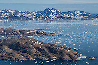 Late summer sea ice at mouth of Ammassalik Fjord, Tasiilaq, Greenland