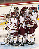 Haley McLean (BC - 13), Katie Burt (BC - 33), Kali Flanagan (BC - 10), Megan Keller (BC - 4) - The number one seeded Boston College Eagles defeated the eight seeded Merrimack College Warriors 1-0 to sweep their Hockey East quarterfinal series on Friday, February 24, 2017, at Kelley Rink in Conte Forum in Chestnut Hill, Massachusetts.The number one seeded Boston College Eagles defeated the eight seeded Merrimack College Warriors 1-0 to sweep their Hockey East quarterfinal series on Friday, February 24, 2017, at Kelley Rink in Conte Forum in Chestnut Hill, Massachusetts.
