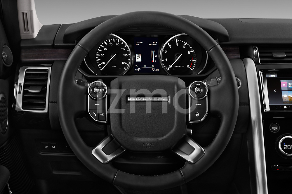 Car pictures of steering wheel view of a 2017 Land Rover Discovery HSE 5 Door SUV