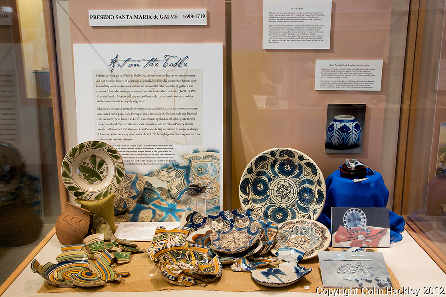 Pottery found at the Presidio Santa Maria De Galve is on display at The Univ. of West Florida Archaeology Division.<br /> <br /> COLIN HACKLEY PHOTO
