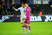 Ben Cabango of Swansea City celebrates with Freddie Woodman of Swansea City at full time during the Sky Bet Championship match between Swansea City and Charlton Athletic at the Liberty Stadium in Swansea, Wales, UK.  Thursday 02 January 2020