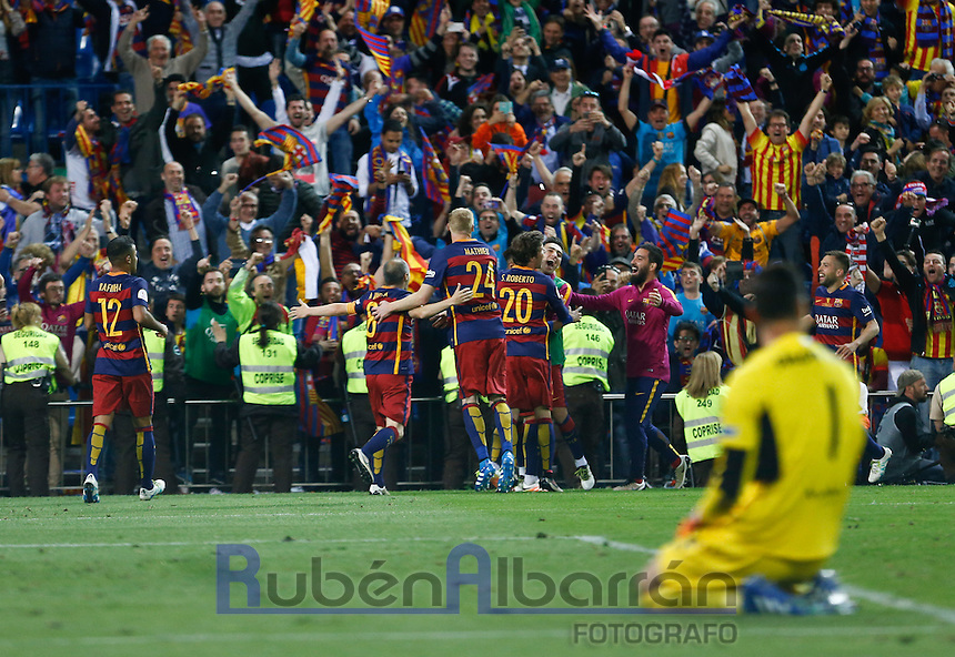 Players FC Barcelona celebrating goal of Neymar during the Final of Copa del Rey match between FC Barcelona and SevillaFC at the Vicente Calderon Stadium in Madrid, Sunday, May 22, 2016.