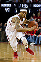 January 9, 2014: Deverell Biggs (1) of the Nebraska Cornhuskers drives to the basket against the Michigan Wolverines at the Pinnacle Bank Arena, Lincoln, NE. Michigan defeated Nebraska 71 to 70.
