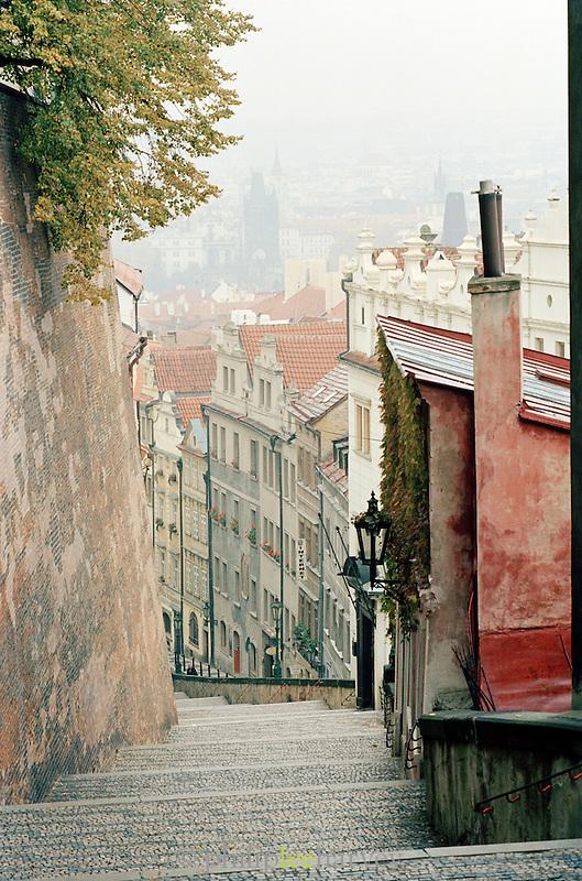 Quiet streets in the hills of Prague, Czech Republic