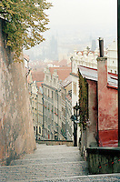 Quiet streets in the hills of Prague, Czech Republic