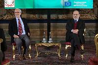 Renzo Piano e Umberto Eco<br /> Roma 28-11-2014 Quirinale. Incontro 'L'Europa della cultura'.<br /> Meeting Europe of culture at Quirinale<br /> Photo Samantha Zucchi Insidefoto