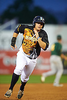 Wilmington Blue Rocks first baseman Robert Pehl (34) running the bases during a game against the Lynchburg Hillcats on June 3, 2016 at Judy Johnson Field at Daniel S. Frawley Stadium in Wilmington, Delaware.  Lynchburg defeated Wilmington 16-11 in ten innings.  (Mike Janes/Four Seam Images)