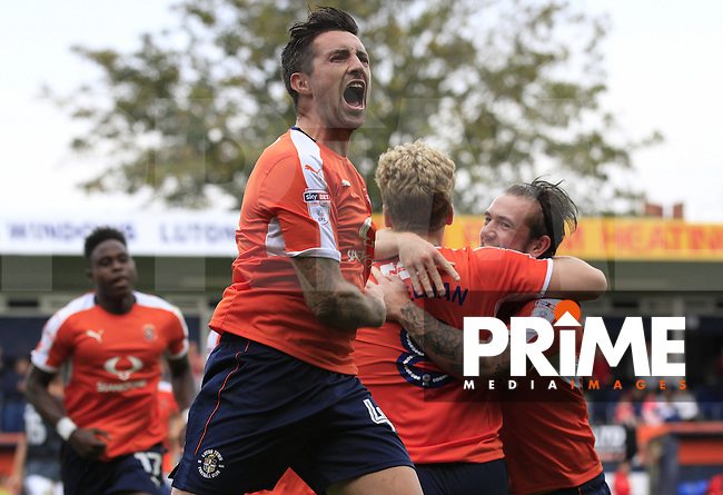 Luton Town vice captain Alan Sheehan celebrates the winning goal during the Sky Bet League 2 match between Luton Town and Doncaster Rovers at Kenilworth Road, Luton, England on 24 September 2016. Photo by Liam Smith.