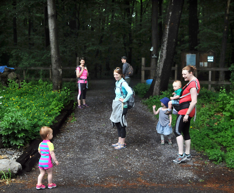 Gathered at the Sterley Ave entrance for the start of a Hike It Baby/ Catskills-Woodstock sponsored hike into the Esopus Bend Nature Preserve in Saugerties, NY, on Memorial Day Monday, May 30, 2016. Photo by Jim Peppler. Copyright Jim Peppler 2016<br /> The hike was led by HIB.Catsjill-Woodstock, Ambassador, Ann Peters, accompanied by her husband, John Peters, their daughter, Violet; HIB chapter co-Ambassador, Ali Troxell, with her daughter, Lucia; and Robin Willens, and her son, Landon. They entered at the Sterley Avenue entrance and walked thru to the landing area on the Esopus.